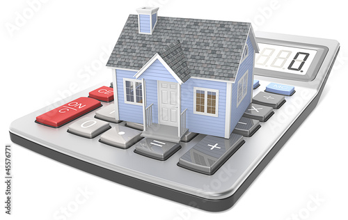 House Pricing. Small blue house on a calculator.