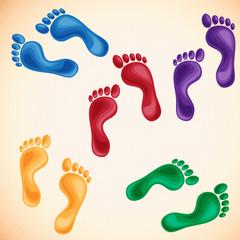 colorful footprints vector