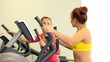 Two sporty woman training  in sport gym