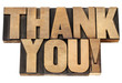 thank you in letterpress wood type