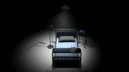 Single hospital bed in a dark room.