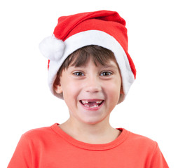 Girl in a cap of Santa Claus