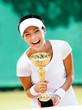 Successful female tennis player won the cup