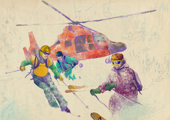 Winter sports - Rescue Team (skiers) - this is original drawing