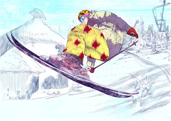 Skier - free style skier, trick (this is original drawing)
