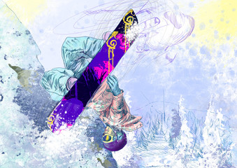 extreme tricks - snowboarder (this is original drawing)