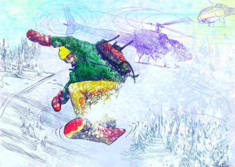 Winter sports - Paramedic snowboarding (original drawing)