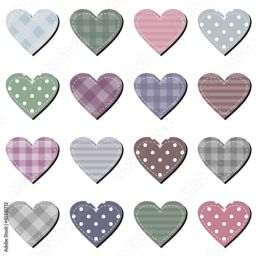 scrarbook hearts on white background