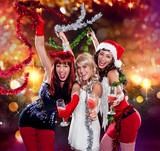 Fototapety the unlike trio 01/Devil, Angel and Santa celebrating Xmas