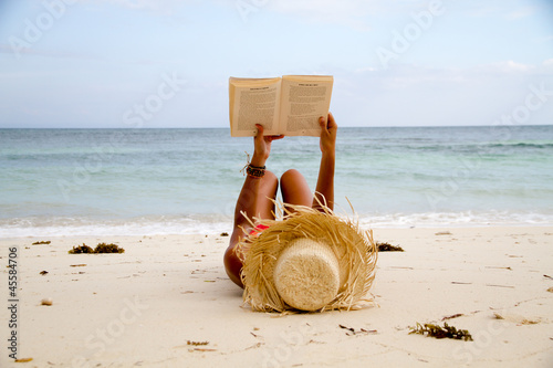 canvas print picture Book on beach