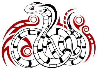 Vector Snake, Cobra in the form of a tattoo