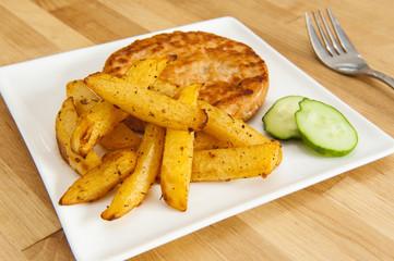Rutabaga Fries and Salmon Burger