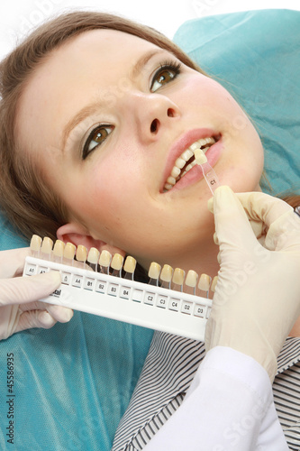 Examining patient's teeth, closeup
