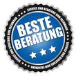 """Button """"Beste Beratung"""" Blau/Schwarz/Silber"""