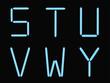 S,t,u,v,w,y alphabet blue neon