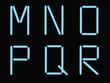 M,N,o,p,q,r alphabet blue neon