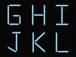 G,H,I,J,K,L alphabet blue neon