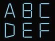 A,B,C,D,E,F, alphabet blue neon