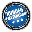 """Button """"Kunden Empfehlung"""" Blau/Schwarz/Silber"""