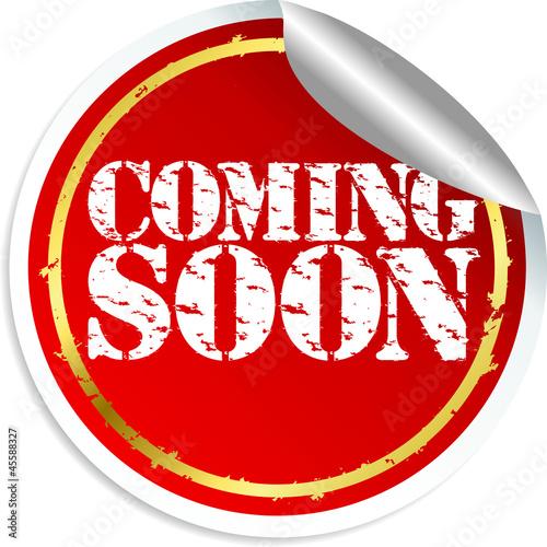 Ccoming soon sticker, vector illustration