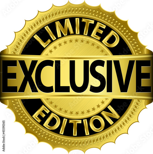 Limited edition exclusive golden label,vector illustration