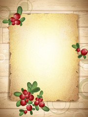 Vintage Grunge Paper With Cranberries