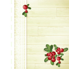 Cranberries at Wooden Background