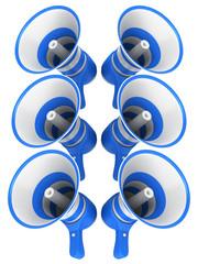 Blue megaphones