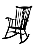 Vintage Rocking Chair Stencil - Left Side Tilted