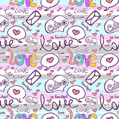 Romantic seamless pattern with text
