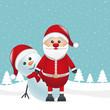 santa and snowman winter landscape
