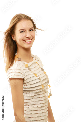 A smiling beautiful woman, isolated on white