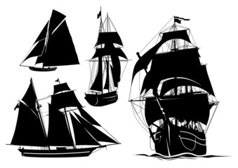 Silhouette of a ship, yacht, boat