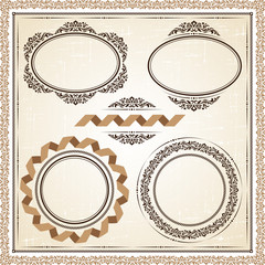 Vector vintage frames at grunge background with retro ornament.