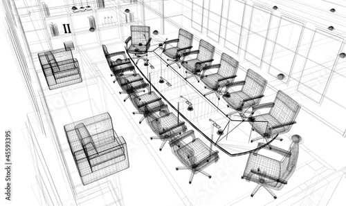 sala riunioni rendering wireframe tratto