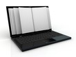 Business paper on laptop. Mobile device concepts 3D. isolated on