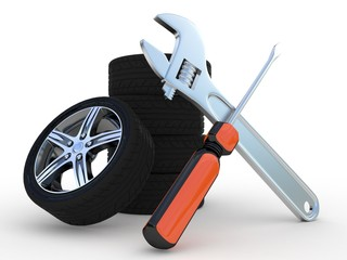 Wheels and Tools on white background. Isolated 3D image