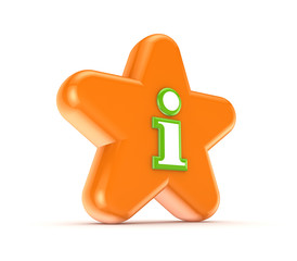 Orange star with info symbol.