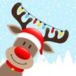 Reindeer Chain Of Lights Winter Forest Diagonal