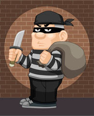 illustration of cartoon thief vector