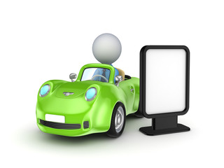 Green car and lightbox.
