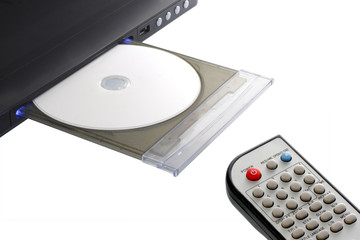 dvd player and remote control with disk open tray isolated