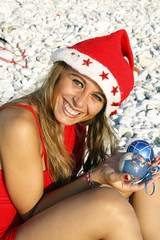 portrait of girl on Christmas beach vacation