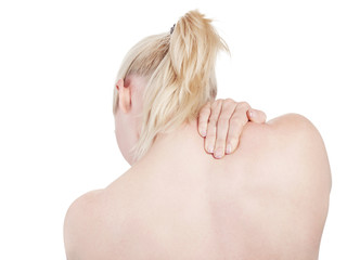 Young woman has acute neck pain - isolated
