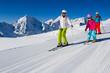 Skiing, winter, ski lesson - skiers on mountainside - 45598764