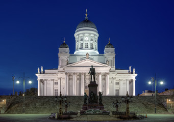 Helsinki cathedral and monument to Alexander II at evening