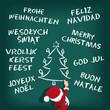 Weihnachtsmann schreibt an Tafel Sprachen
