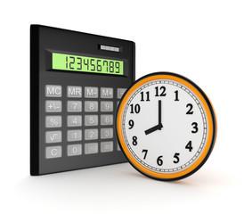 Calculator and clock.
