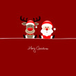 Sitting Rudolph & Santa Red Background