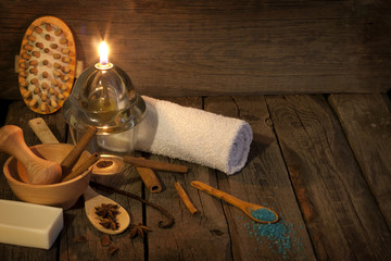 Spa aromatherapy vintage still life in night concept